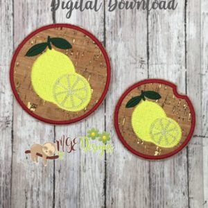 Lemon Coasters Large and Car Size Machine Embroidery Design Digital Download MGEDesigns