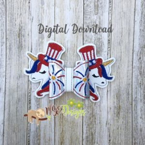 3D July Unicorn Bow Machine Embroidery Design Digital Download MGEDesigns
