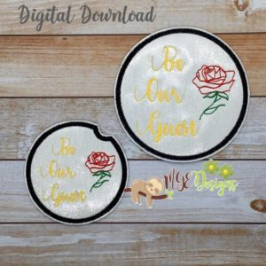 Be Our Guest Coaster Set for Home and Car Machine Embroidery Design Digital Download MGEDesigns
