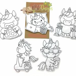Unicorn Coloring Doll Set 2 Machine Embroidery Design Digital Download MGEDesigns
