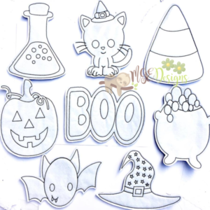 Halloween Coloring Doll Set Machine Embroidery Design Digital Download MGEDesigns