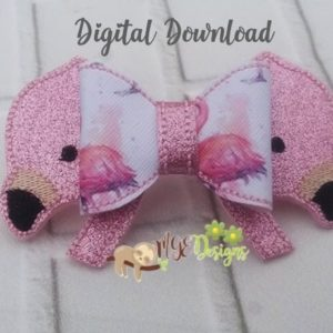 3D Flamingo Head Bow Machine Embroidery Design Digital Download MGEDesigns