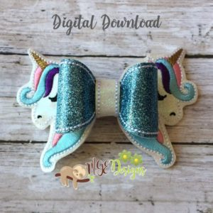 3D Unicorn Bow Machine Embroidery Design Digital Download MGEDesigns