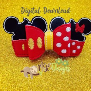 3D Mr Miss Mouse Bow Machine Embroidery Design Digital Download MGEDesigns