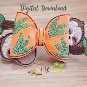3D Sloth Bow Machine Embroidery Design Digital Download MGEDesigns