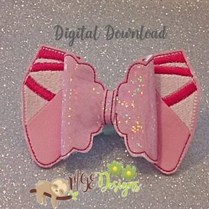 3D Ballet Shoes Bow Machine Embroidery Design Digital Download MGEDesigns