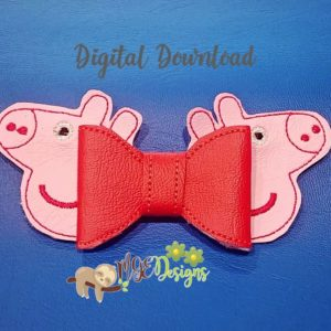 3D Peppa Pig Bow Machine Embroidery Design Digital Download MGEDesigns