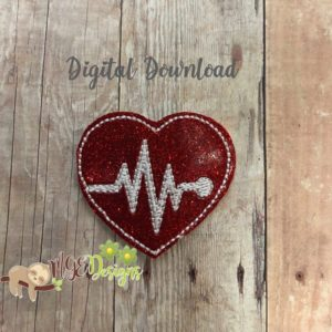 Heart Beat Feltie Machine Embroidery Design Digital Download MGEDesigns