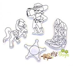 Cowboy Coloring Doll Set Machine Embroidery Design Digital Download MGEDesigns