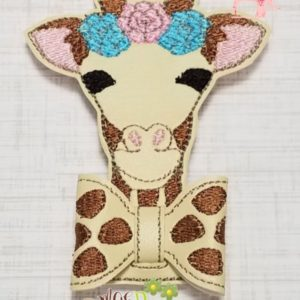 3D Giraffe Bow Machine Embroidery Design Digital Download MGEDesigns