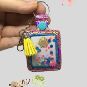 Confetti Appliqued Key Fob Machine Embroidery Design Digital Download MGEDesigns