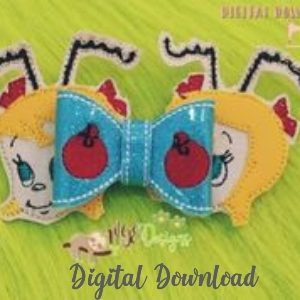 3D Cindy Christmas Bow Machine Embroidery Design Digital Download MGEDesigns