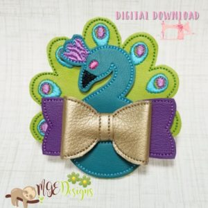 3D Standing Peacock Bow Machine Embroidery Design Digital Download MGEDesigns