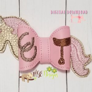 3D Horse Head and Tail Bow Machine Embroidery Design Digital Download MGEDesigns