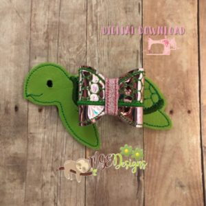 3D Sea Turtle Bow Machine Embroidery Design Digital Download MGEDesigns