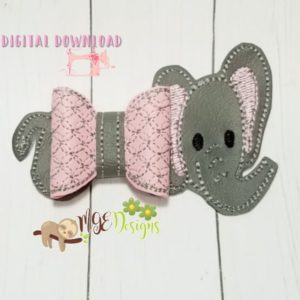 3D Elephant Bow Machine Embroidery Design Digital Download MGEDesigns