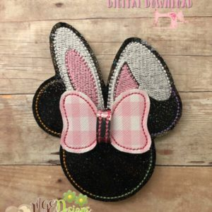 3D Easter Mouse Bow Machine Embroidery Design Digital Download MGEDesigns