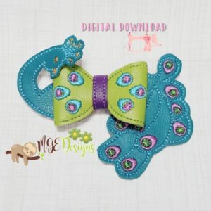 3D Peacock Head and Tail Bow Machine Embroidery Design Digital Download MGEDesigns