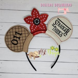 Strange Things Mouse Ear Headband Machine Embroidery Design Digital Download MGEDesigns