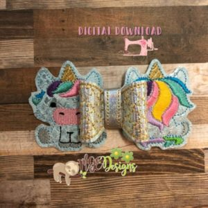 3D Unicorn Front Back Bow Machine Embroidery Design Digital Download MGEDesigns