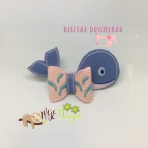 3D Whale Bow Machine Embroidery Design Digital Download MGEDesigns