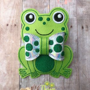 3D Frog Bow Machine Embroidery Design Digital Download MGEDesigns