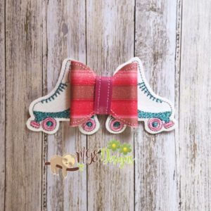 3D Roller Skates Bow Machine Embroidery Design Digital Download MGEDesigns