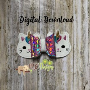 3D UniKitty Bow Machine Embroidery Design Digital Download MGEDesigns