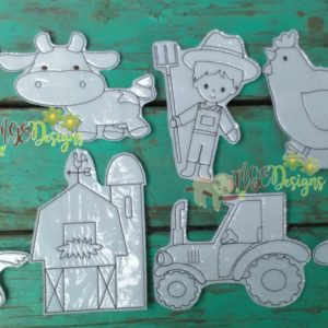 Farm Life Coloring Doll Set Machine Embroidery Design Digital Download MGEDesigns