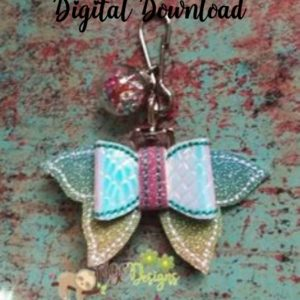 3D Mini Mermaid Tail Bow Machine Embroidery Design Digital Download MGEDesigns