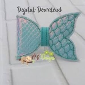 3D Mermaid Half Bow Machine Embroidery Design Digital Download MGEDesigns