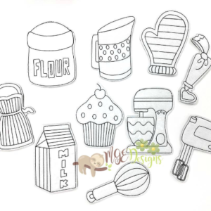 Kitchen Fun Coloring Dolls Machine Embroidery Designs Digital Download MGEDesigns
