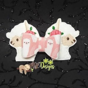 3D Llama Bow Machine Embroidery Design Digital Download MGEDesigns