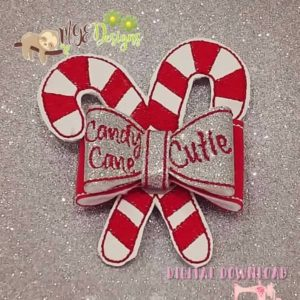 3D Candy Cane Bow Machine Embroidery Design Digital Download MGEDesigns