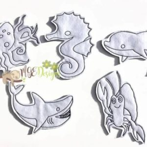 Sea Life Coloring Doll Set Machine Embroidery Design Digital Download MGEDesigns