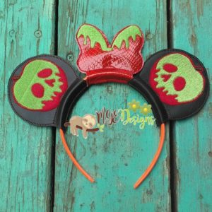 Poison Apple Mouse Ear Headband Machine Embroidery Design Digital Download MGEDesigns