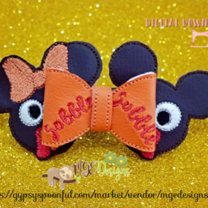 3D Mouse Turkey Bow Machine Embroidery Design Digital Download MGEDesigns