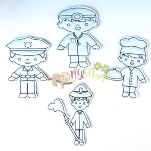Service Men Coloring Dolls Machine Embroidery Design Digital Download MGEDesigns