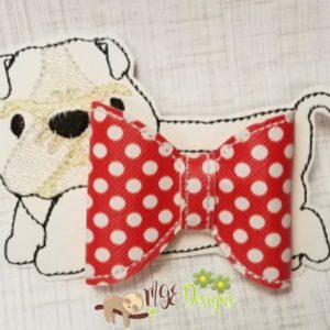 3D Bulldog Bow Machine Embroidery Design Digital Download MGEDesigns