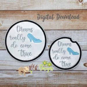 Dreams Come True Coaster Set for Home and Car Machine Embroidery Design Digital Download MGEDesigns