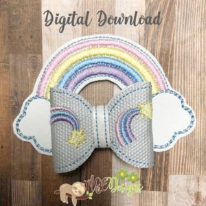 3D Rainbow Clouds Bow Machine Embroidery Design Digital Download MGEDesigns
