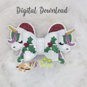 3D Santa Unicorn Bow Machine Embroidery Design Digital Download MGEDesigns