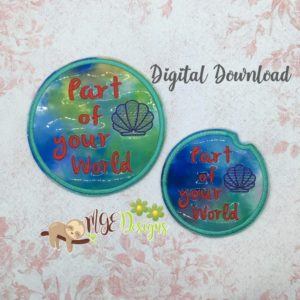 Your World Car and Home Coaster Set Machine Embroidery Design Digital Download MGEDesigns