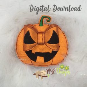 3D Jack O'Lantern Bow Machine Embroidery Design Digital Download MGEDesigns