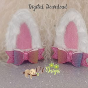 3D Standing Bunny Ears Bow Machine Embroidery Design Digital Download MGEDesigns