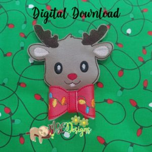 3D Reindeer Bow Machine Embroidery Design Digital Download MGEDesigns