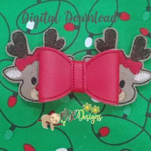 3D Cutie Reindeer Bow Machine Embroidery Design Digital Download MGEDesigns