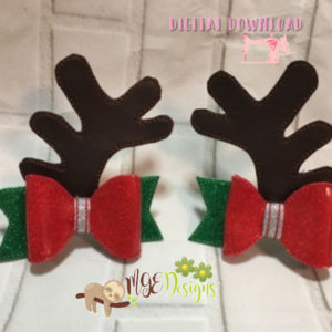 3D Reindeer Antlers Bow Machine Embroidery Design Digital Download MGEDesigns