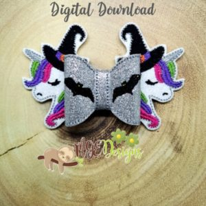 3D Unicorn Halloween Bow Machine Embroidery Design Digital Download MGEDesigns