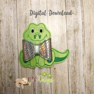 3D Sitting Alligator Bow Machine Embroidery Design Digital Download MGEDesigns
